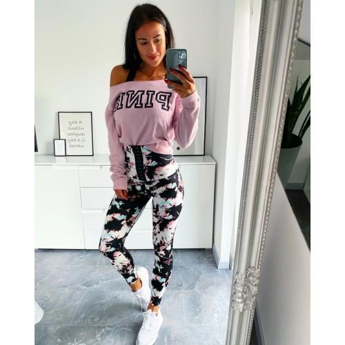 Legínové kalhoty vysoký pas Gaine model s růžovou velikost S a M