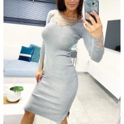 Luxusní šaty Babel barva šedá