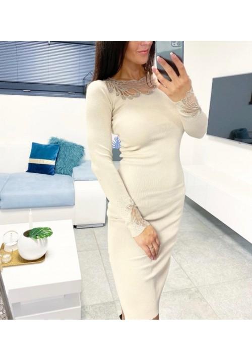 Luxusní šaty Babel barva krémová