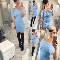 Blantyně modré šaty s perličkovým lemem
