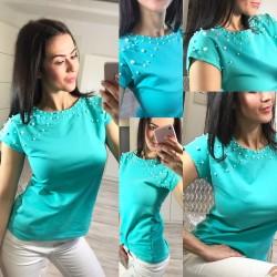 Tyrkysové tričko s perlami