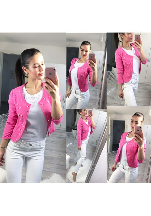 Sladce růžové sako Pearls