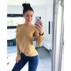 Hořčicový svetr na jedno rameno